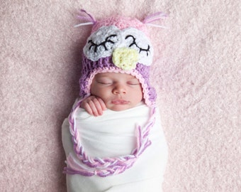 Crochet Baby Hat, Infant Owl Hat, Baby Owl Beanie, Infant Girl Owl, Sleepy Owl Hat, Crochet Owl Hat, Owl Hat for Baby, Newborn Owl Hat