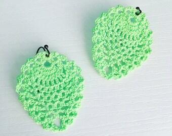 Sheridan Crochet Earrings in Mint Green, Lace Doily Earrings, Dangle Earrings, Pastel Spearmint, Boho Style, Summer Jewelry, Gift Under 30