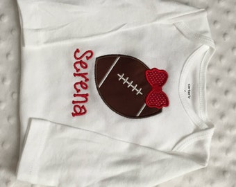 Baby Girl Personalized Football with bow Onesie - choose your own bow and thread color