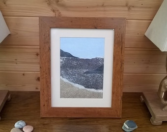 Original Cornish wall art - sky, sea and sand in a framed collage
