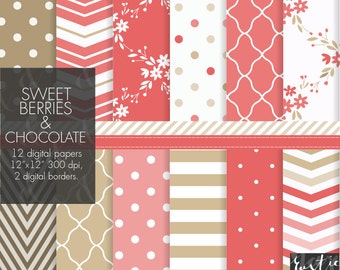 Red and brown digital paper with floral, chevron, tiles, polka dot patterns. SWEET BERRIES and chocolate. Personal, small commercial use.