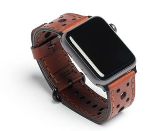Touring Edition - Wickett & Craig® Full Grain Leather Apple Watch Band - Medium Brown | Made in USA