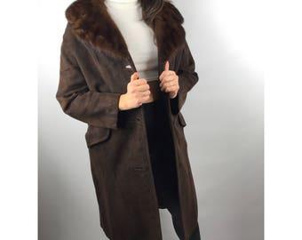 1960s Mod brown suede coat with mink fur collar