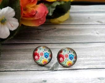PAISLEY EARRINGS , 12mm Round Glass Cabochon Earrings, paisley studs, Red Paisley, Trendy Earrings, Stainless steel glass stud earrings