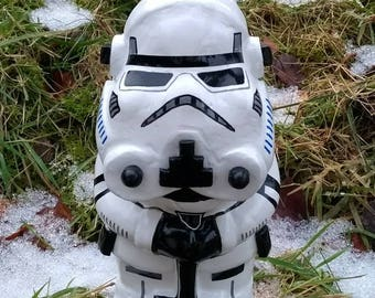 IMPERIAL STORMTROOPER (new & improved) Star Wars custom unique hand painted garden gnome