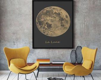 Moon Decor Moon Print Moon Wall Art La Lune Art Gray Moon Gray Art Gray Decor Vintage Moon Print Full Moon Lunar Wall Art Moon Poster