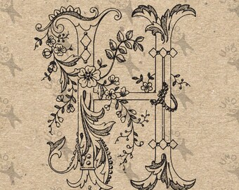 Vintage Monogram Initial Letter H Instant Download Digital printable clipart graphic Calligraphy for Burlap, Towels, kraft etc HQ 300dpi
