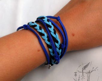 Blue leather Tireta bracelet. Double bracelet.