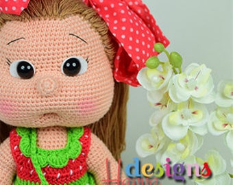 Crochet Pattern - Mia Doll With Strawberry Dress (Amigurumi Doll Pattern)