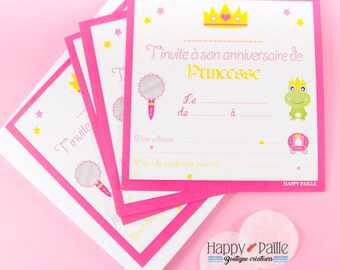 6 princess birthday invitations