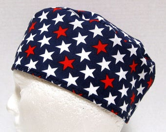 Mens Scrub Hat, Surgical Cap, Chefs Skull Cap, Red and White Stars on Navy
