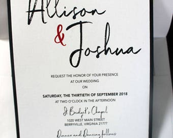 Wedding Invitation, Bridal Shower Invitation, Black and White Wedding Invitation, Adult Birthday Party Invitation, Ticket Invitation