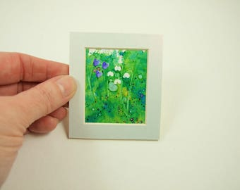 Miniature Painting, Spring Flowers, Snowdrops, Original Ink Artwork, Mounted. Dolls House, Dollhouse Painting, Collectors Artwork Floral Art