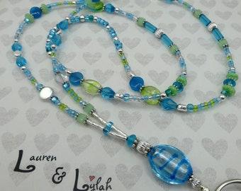 Foil lined lampwork Caribbean blue swirl focal bead beaded lanyard blue celadon silver ID badge card holder by Lauren & Lylah