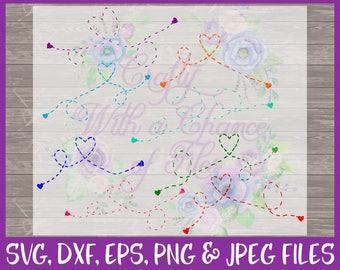Heart Dashed Line SVG Heart SVG Dotted Line SVG Hometown Svg Relationship Svg Long Distance Svg Family Svg Dxf Eps Png Jpg Digital Download