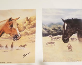 Pretty Vintage Horse Prints by Sprovach, Palomino and Black, Vintage 8x10 Pair