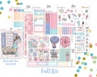 April Showers- A LA CARTE Vertical Weekly Kit planner stickers- Spring, Garden, Rain