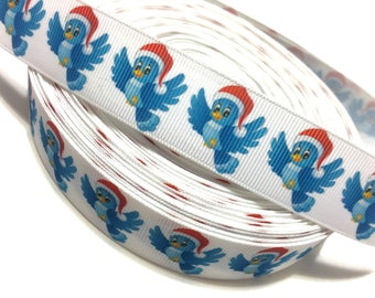 "1"" Blue Bird Ribbon, Blue Bird Grosgrain Ribbon, Bird Santa Hat Ribbon"