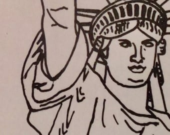 Unique Miss Liberty artwork with oboe reed for teachers, oboist, musician, student gift collectible clever download coloring book page USA