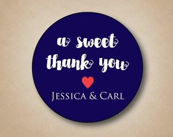 A Sweet Thank You Wedding Stickers Custom Favor Labels Wedding Tags Thank You Stickers Watercolor Font Round Labels Custom Favor Box Sticker