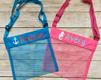 Personalized Seashell Mesh Tote…Custom Kids Beach Bag…Monogrammed Summertime Sea Shell Bags…Summer Beach Accessories with Name or Monogram