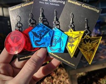 Pokemon Go Mirrored Team Earrings, Valor Mystic Instinct GeekStar Geek Jewelry, Lasercut Hypoallergenic Acrylic