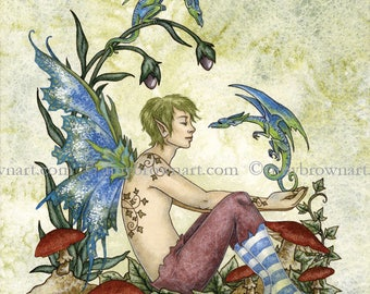 5x7 A Boy and His Dragons fairy PRINT by Amy Brown