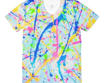 80s Clothing Neon Paint Splatter Rainbow Womens Shirt Retro 80s Splatter Paint Festival Clothing Rave Clothing Burning Man Vintage Dance