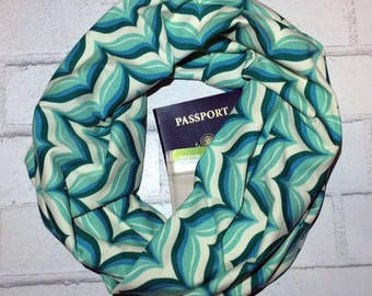 Whaley | Blue, Green, Mint & Cream Chevron Infinity Scarf With Hidden Pocket