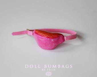 Strawberry Glitter Sorbet no2 - bum bag - miniature fashion for dolls - Blythe Licca Pullip Dal - handmade doll accessories by MissFelix