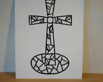 stained glas, cross, kruis, linocut, linosnede, stamp , stempel, printing