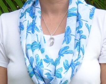 Dragonfly scarf, printed scarf, infinity scarf, summer scarf, lightweight scarf, women's scarf, chiffon scarf, colourful scarf