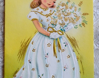 Vintage Birthday Card - Little Girl With Glitter Flowers - Used to Niece Long Dress Gloves