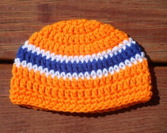 Striped Beanie, Baby Hat, Orange Cap, Toddler Hat, Crochet Hat, Infant Boy, Baby Item, Infant Crochet, Hospital Hat, Bring Home Baby