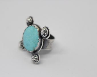 Sterling Silver and Kingman Turquoise Ring - oNe of a Kind - Size 6 3/4