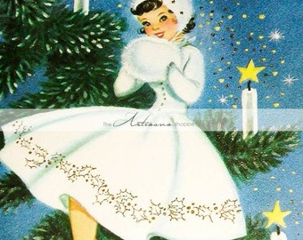 Printable Download - Vintage Christmas Girl in White on Tree Retro Christmas Card - Paper Crafts Altered Art Scrapbooking - Retro Vintage