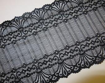 2m black stretch lace 17cm wide Art Nouveau