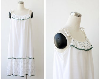 1970's Sundress Strap Dress Cotton Tent Dress White Dress Summer Dress White Cotton Dress M L Prairie Boho Dress Festival Dress Beach Dress