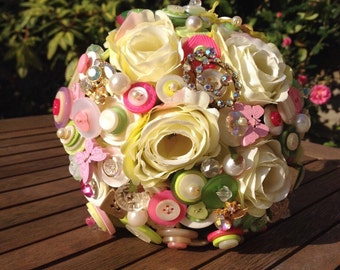 Button bouquet, Brooch and fabric flower wedding bouquet in ivory, pink and green, for Bride or Bridesmaid -retro/vintage design, UK seller