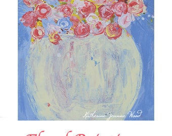 Acrylic Pink & Blue Roses Flower Painting. Original Palette Knife Floral Painting. Apartment Wall Decor. 224