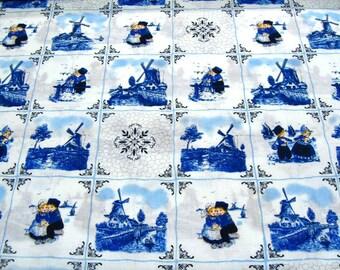 Dutch Delft Blue Cotton - Blue farmers - Fat Eight