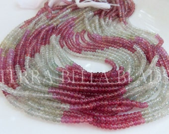 "14"" strand UMBA SAPPHIRE smooth precious gem stone rondelle beads 3.5mm pink green"