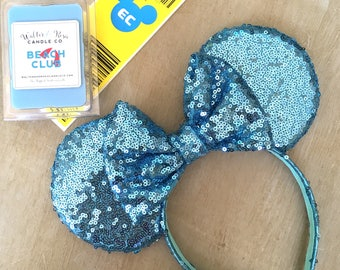 all over blue sequin minnie mouse ears