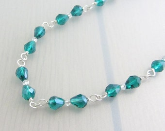 Jade Green Crystal Necklace with Clear Swarovski Crystal, Wire Wrapped Sterling Silver Crystal Necklace, Sales Clearance