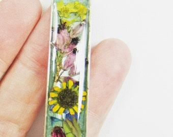 Sunflower Delight Pendant,  Pressed Flowers Jewelry, Real Flower Necklace, Resin,  (1819)