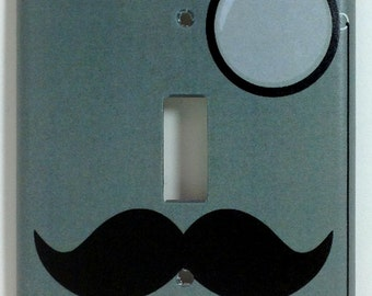 Like A Sir Mustache & Monocle Single Light Switch Plate Cover