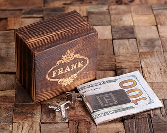 """Initial """" F """" Personalized Men's Classic Cuff Link & Money Clip with Wood Box Monogrammed Engraved Groomsmen, Best Man, Father's Day Gift"""