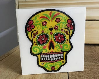 Day of the Dead Sugar Skull Mexican folk art, Wall Canvas
