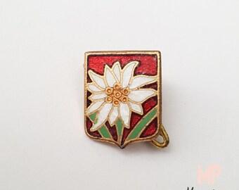 FRANCE 1920, Military Brooch, Enamelled Brass, Edelweiss Flower, Signed
