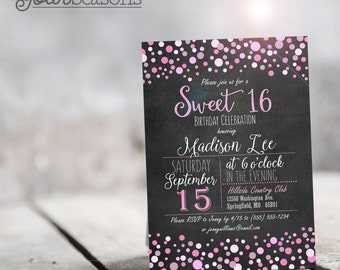 Sweet 16 Invitation - Personalized Printable DIGITAL FILE
